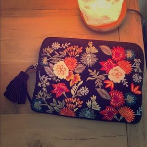Lucky Brand Suede Embroidered Clutch